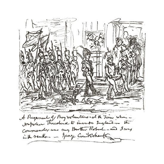 Sketch in Pen and Ink Depicting Robert Heading a Boy Regiment--Giclee Print