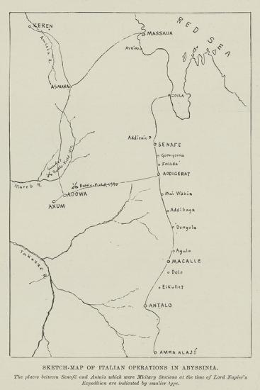 Sketch-Map of Italian Operations in Abyssinia--Giclee Print