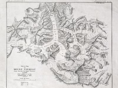 Sketch Map of Mount Everest from Surveys by Major Wheeler in 1921 with Addi-English School-Giclee Print
