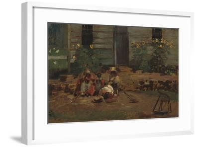 Sketch of a Cottage Yard, c.1876-Winslow Homer-Framed Giclee Print