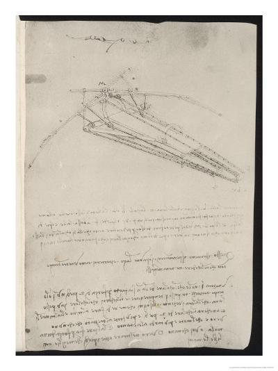 Sketch of a Design for a Flying Machine-Leonardo da Vinci-Giclee Print