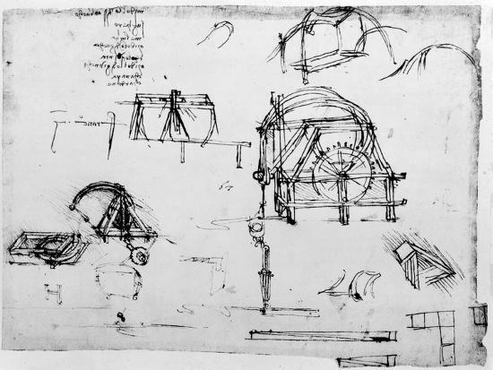 Sketch of a Perpetual Motion Device Designed by Leonardo Da Vinci, C1472-1519-Leonardo da Vinci-Giclee Print