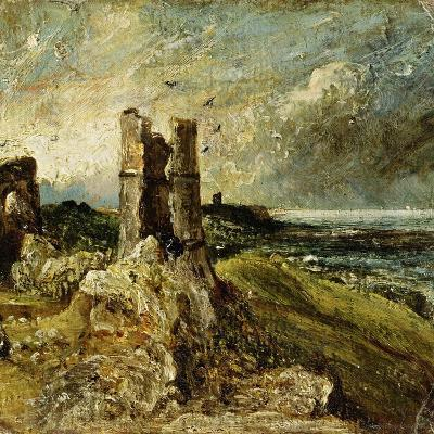 Sketch of Hadleigh Castle (Recto) (Oil on Millboard)-John Constable-Giclee Print