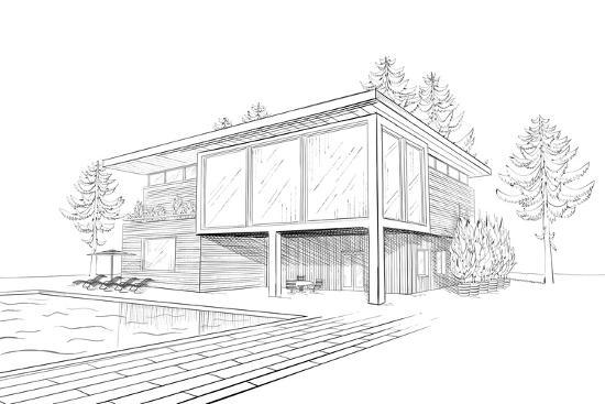 Sketch of Modern House with Swimming Pool Art Print by ...