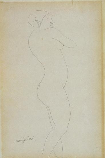 Sketch of Nude Female Standing-Amedeo Modigliani-Giclee Print