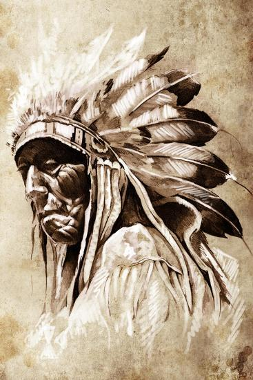 Sketch Of Tattoo Art, Indian Head, Chief, Vintage Style-outsiderzone-Art Print
