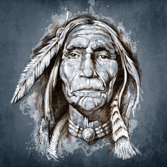 Sketch Of Tattoo Art, Portrait Of American Indian Head-outsiderzone-Art Print