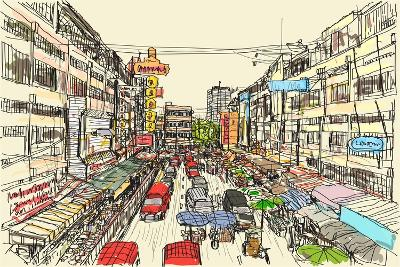 Sketch Thai Local Market Place in Chiangmai, Free Hand Draw Vector Illustration- arnont108-Art Print