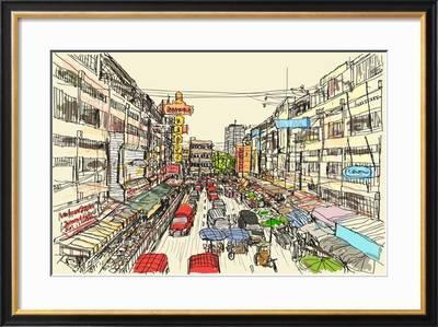 sketch thai local market place in chiangmai free hand draw vector illustration u l q1altsh2fkfaf