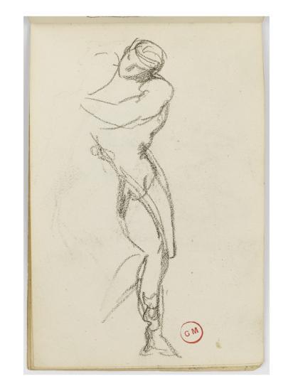 Sketchbook: Study of Man Standing for Darius Fleeing-Gustave Moreau-Giclee Print