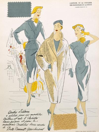 Sketches and Fabric Swatches, from L'Oficiel de La Couleur Des Industries de La Mode--Giclee Print