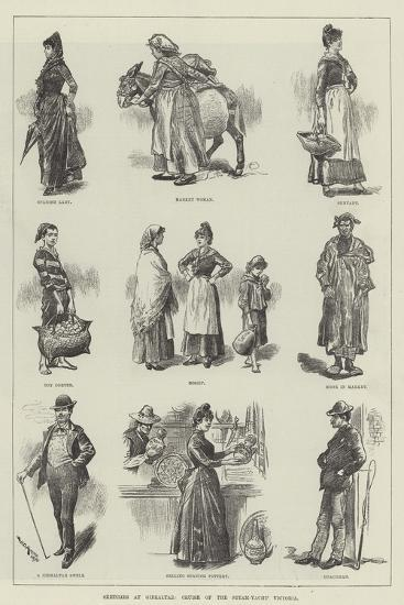Sketches at Gibraltar, Cruise of the Steam-Yacht Victoria-William Douglas Almond-Giclee Print