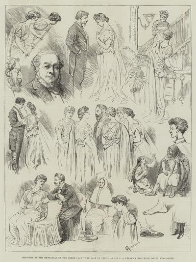 Sketches at the Rehearsal of the Greek Play The Tale of Troy-Alfred Courbould-Giclee Print