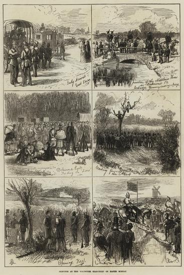 Sketches at the Volunteer Sham-Fight on Easter Monday--Giclee Print