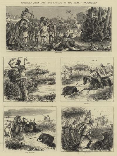 Sketches from India, Hog-Hunting in the Bombay Presidency-William Ralston-Giclee Print