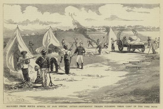 Sketches from South Africa, Hottentot Troops Pitching their Camp in the Peri Bush-Charles Edwin Fripp-Giclee Print