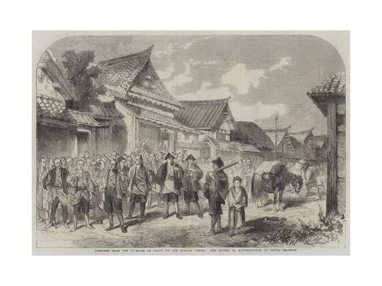 Sketches from the Interior of Japan, Our Escort of Matchlockmen at Omura--Giclee Print