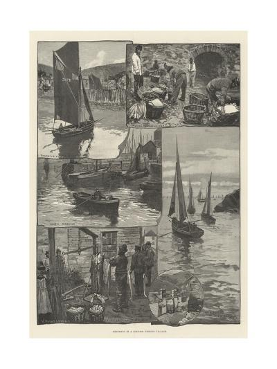 Sketches in a Cornish Fishing Village--Giclee Print