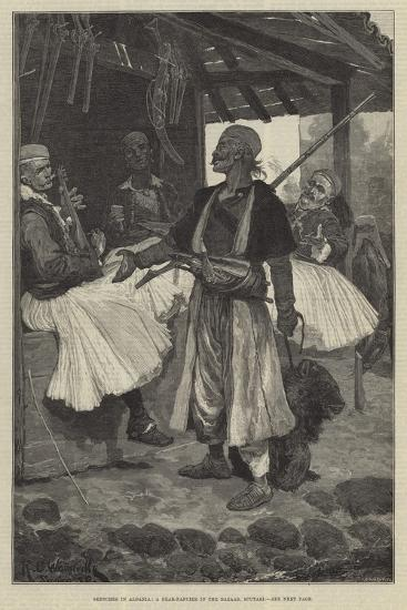 Sketches in Albania, a Bear-Fancier in the Bazaar, Scutari-Richard Caton Woodville II-Giclee Print