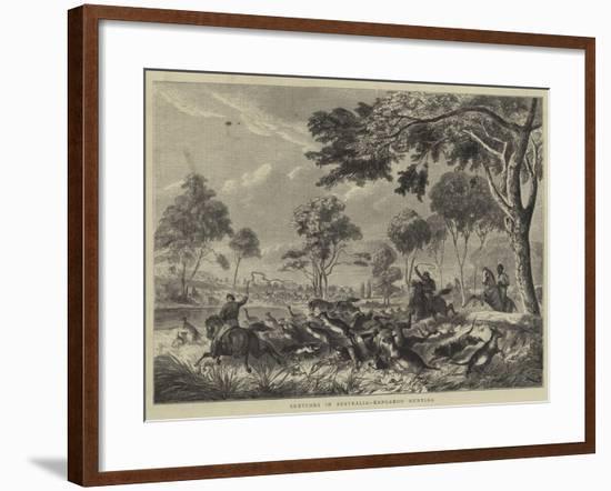 Sketches in Australia, Kangaroo Hunting--Framed Giclee Print
