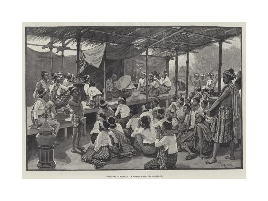 Sketches in Burmah, a Sermon from the Phoongye-Amedee Forestier-Giclee Print