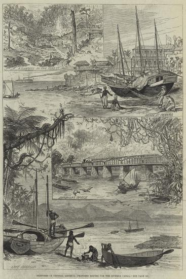 Sketches in Central America, Proposed Routes for the Isthmus Canal--Giclee Print