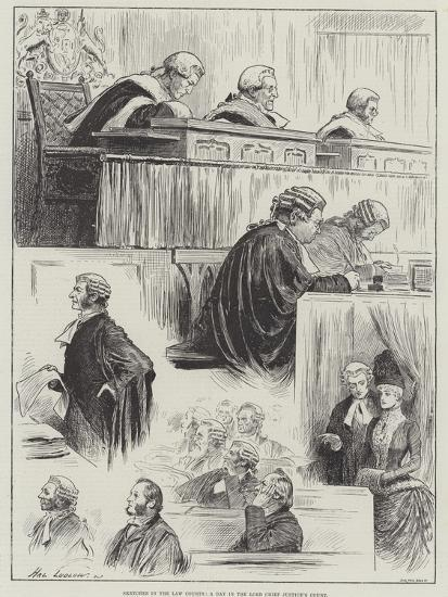 Sketches in the Law Courts, a Day in the Lord Chief Justice's Court-Henry Stephen Ludlow-Giclee Print
