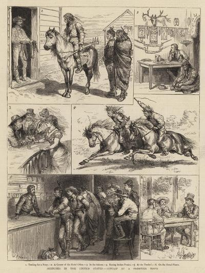 Sketches in the United States, Sunday at a Frontier Town-Godefroy Durand-Giclee Print