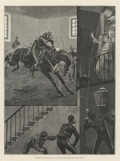 Sketches of Military Life, the New Subaltern, Day and Night-Richard Caton Woodville II-Giclee Print