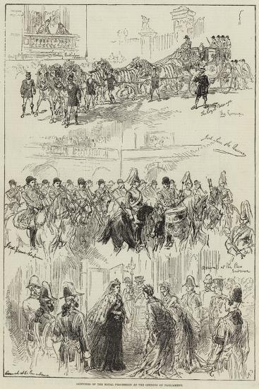 Sketches of the Royal Procession at the Opening of Parliament--Giclee Print