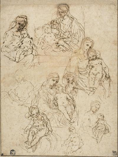 Sketches of the Virgin and Child, and the Holy Family, 1642-48-Simone Cantarini-Giclee Print
