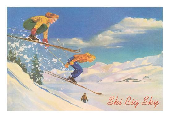 Ski Big Sky, Lady Skiers, Montana--Premium Giclee Print