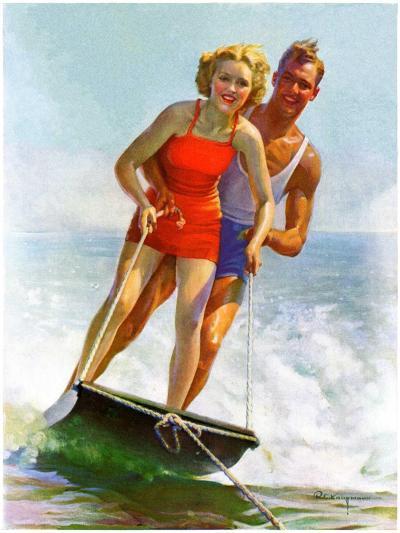 """Ski Boarding Couple,""June 27, 1936-Robert C^ Kauffmann-Giclee Print"