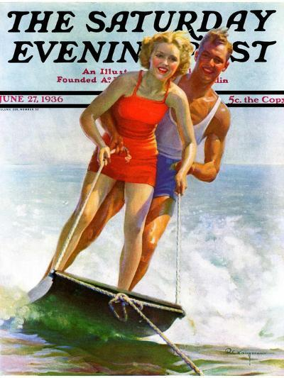 """Ski Boarding Couple,"" Saturday Evening Post Cover, June 27, 1936-Robert C^ Kauffmann-Giclee Print"