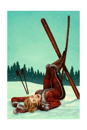 Ski Pinup-Lantern Press-Art Print