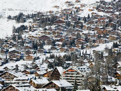 Ski Resort Chalets, Verbier, Valais, Wallis, Switzerland-Walter Bibikow-Photographic Print