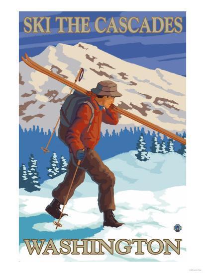 Ski the Cascades, Cascade Mountains, Washington-Lantern Press-Art Print