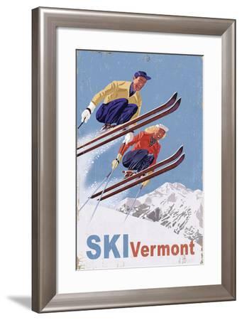 Ski Vermont - Vintage Skiers-Lantern Press-Framed Art Print