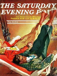 """Apres Ski,"" Saturday Evening Post Cover, February 22, 1941 by Ski Weld"