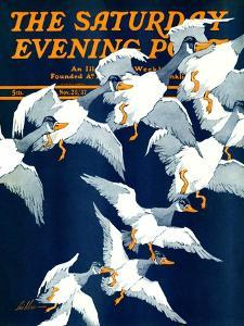 """""""Flying South,"""" Saturday Evening Post Cover, November 20, 1937 by Ski Weld"""