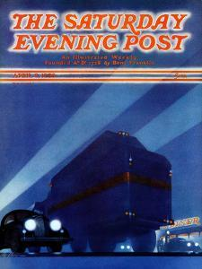 """""""Highway Diner,"""" Saturday Evening Post Cover, April 9, 1938 by Ski Weld"""