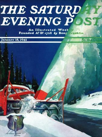 """Highway Snowplow,"" Saturday Evening Post Cover, January 18, 1941"