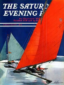 """""""Iceboats Racing,"""" Saturday Evening Post Cover, February 18, 1939 by Ski Weld"""