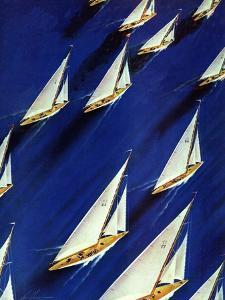 """Sailboat Regatta,"" June 29, 1940 by Ski Weld"
