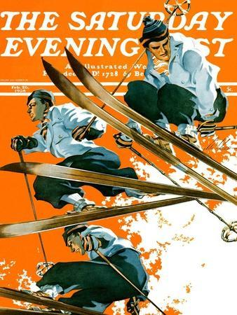 """Ski Jumpers,"" Saturday Evening Post Cover, February 26, 1938"