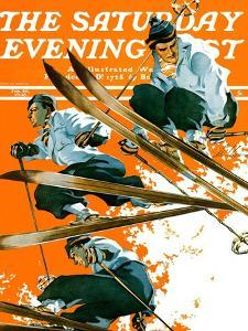 """""""Ski Jumpers,"""" Saturday Evening Post Cover, February 26, 1938 by Ski Weld"""
