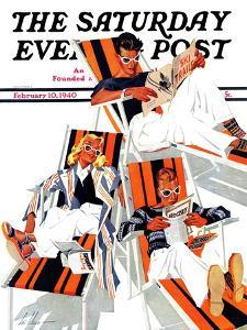 """""""Winter Vacation,"""" Saturday Evening Post Cover, February 10, 1940 by Ski Weld"""
