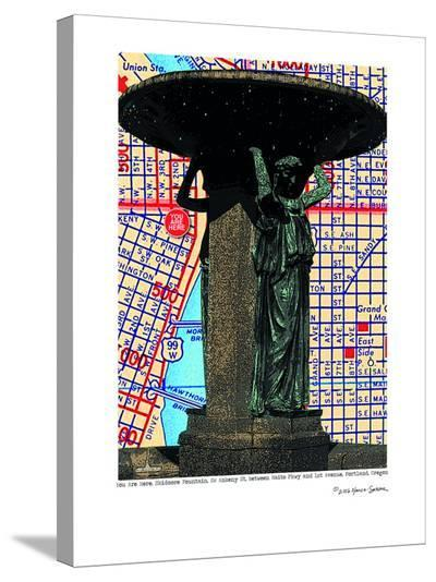 Skidmore Fountain Portland--Stretched Canvas Print