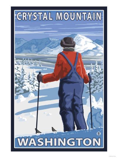 Skier Admiring, Crystal Mountain, Washington-Lantern Press-Art Print