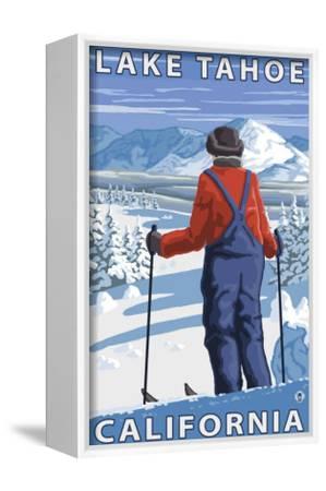 Skier Admiring, Lake Tahoe, California-Lantern Press-Framed Canvas Print